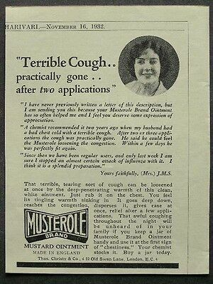 1930s advert for MUSTEROLE mustard ointment terrible cough chemist advertising