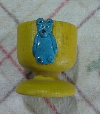 Vintage Collectable Egg-Cup.  Yellow Wood With Blue Bear.