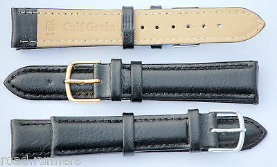 Padded BLACK Genuine Real Leather Watch Strap Band Size 12-20mm Mens Ladies