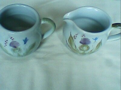 Buchan Pottery Heather,Thistle & Bluebell Pattern,2 Small Milk Jug Stonware used