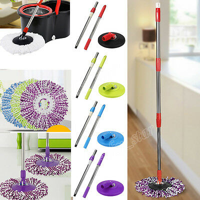 Replacement 360 Rotating Easy Magic Microfiber Spinning Floor Mop Head + Handle