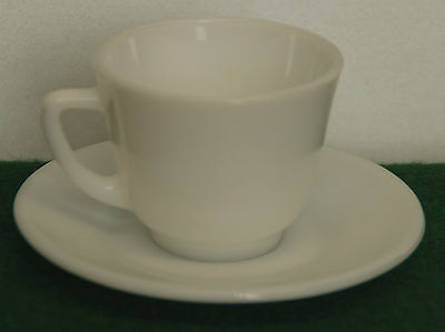 6 VINTAGE  PLAIN WHITE CUPS AND SAUCERS  BY  JAJ Pyrex