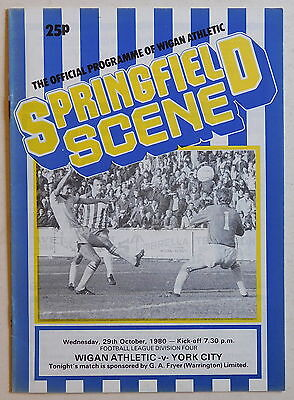 WIGAN ATHLETIC Vs YORK CITY Programme - 29 October 1980 - Division 4