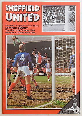 SHEFFIELD UNITED Vs NEWPORT COUNTY Programme - 14 October 1980 - Division 3
