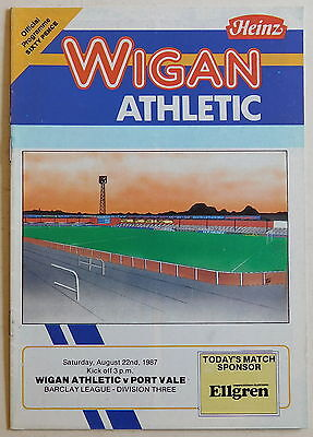 WIGAN ATHLETIC Vs PORT VALE Programme - 22 August 1987 - Division 3