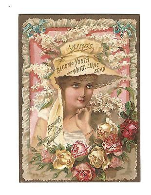 Old Trade Card Laird's Bloom Of Youth White Lilac Soap Spencer Druggists Phila