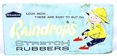 VINTAGE B.F. GOODRICH Raindrops Rubbers 1950s Metal Sign Ad 9 x 19 RARE 1950s
