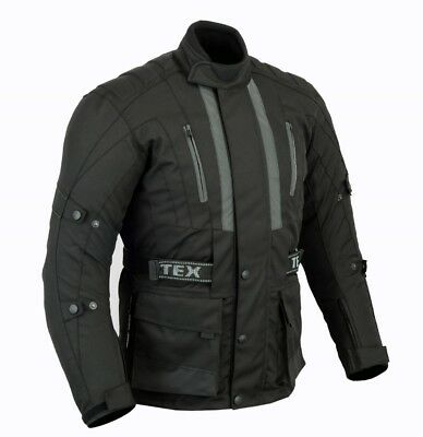 Mens Texpeed Jerico Black Textile Waterproof Motorcycle Jacket With CE Armour