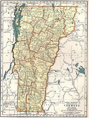1937 Vintage Map of VERMONT State Map Travel Gallery Wall Art Map 3336