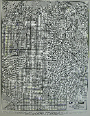 1942 Antique LOS ANGELES MAP Black and White Gallery Wall Art 3344