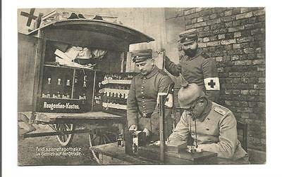 Original WW1 c.1914-18 postcard German Army, mobile Apothecary, medical unit; S6