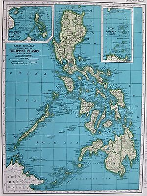 1945 Vintage PHILIPPINES Map of the Philippine Islands Gallery Wall Art #3346