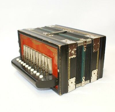 Vintage Accordion Squeezebox Antique One Row German Made Musical Instrument Box