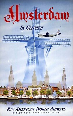 Vintage Illustrated Travel Poster CANVAS PRINT Amsterdam by Clipper A3