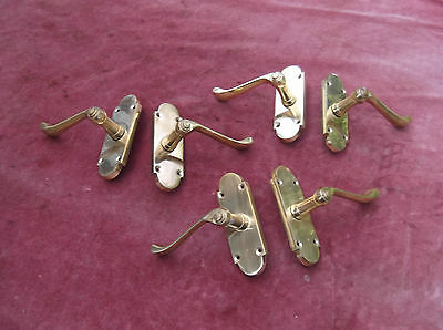 Vintage Brass Door Handle Pairs X 3/antique Brass Door Furniture/brass Handles