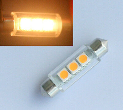 4x 42mm Soffitte Lampe C10W 3 5050 SMD LED WARM WEISS Innenraum Beleuchtung 12V