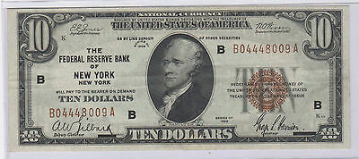 1929 Ten Dollar $10 Federal Reserve Bank of NY Note Brown Seal B04448009A