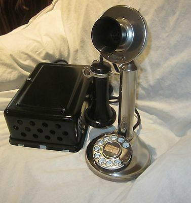 Western Electric Nickel-Plated Dial Candlestick e/w Metal Ringer Box