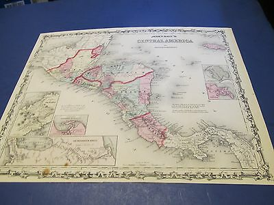 1861 Map of Central America by Johnson and Browning. original