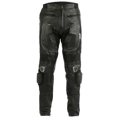 Turin Mens Black Cowhide Leather Motorcycle Trousers With Sliders & Armour