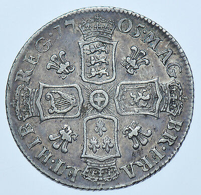 Rare 1705 Plumes Shilling, British Silver Coin From Anne Vf