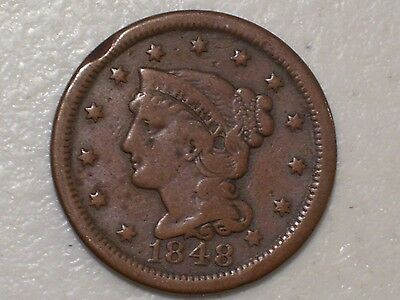 Us 1848 Braided Hair Large Cent Coin, Fine