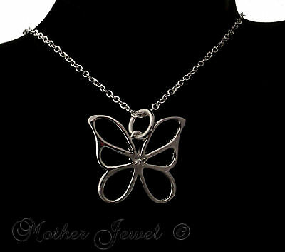 Bargain Birthday Gift Butterfly Pendant Womens Girls Silver Sp Chain Necklace