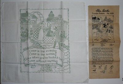Vintage Transfer Mail Order Alice Brooks Picture Saying No 6128 & Stamped Linen