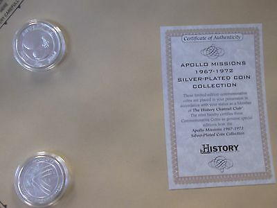 History Channel Club Apollo Missions Silver Plated Fantasy Coins - B214