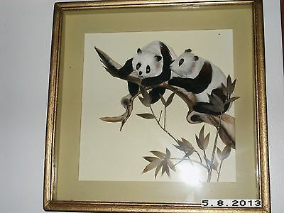 Panda Bear Picture Made Of Feathers