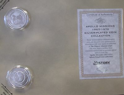 History Channel Club Apollo Missions Silver Plated Fantasy Coins - B214-3