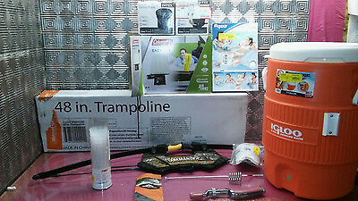 Outdoors Goods Lot- Trampoline 48in. airbed, Bow,  EMMROD Packer and MORE