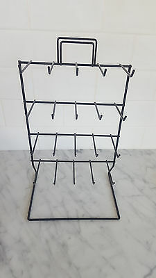 20 prong 4 Tier wire retail COUNTER DISPLAY RACK black jewelry keychain holder