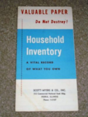 Vintage Valuable Paper Household Invertory Fold Out Book Pamphlet Used