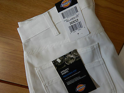 NWT Dickies Utility White Carpenter Painter Pants: Relaxed Fit: Size: 36 x 32