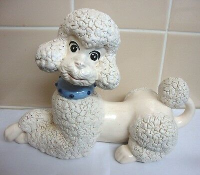 Vintage Kitsch US Large Ceramic White Poodle Figurine by Atlantic Mold