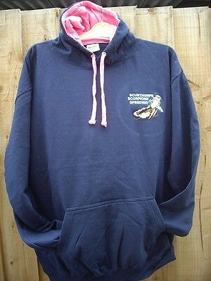 Scunthorpe Scorpions Speedway Hoodie - Navy/pink - Size Large - Brand New