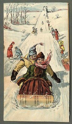 SNOW SLEDDING in Victorian Days Card 1880's - Young Couple on Sled