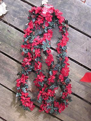 Christmas Holiday Garland Poinsettia Strand Red Green Floral Merry Brite 5' New