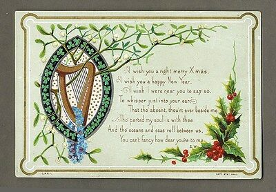 CHRISTMAS Victorian Greeting 1880's with SHAMROCKS Holly and HARP Card IRELAND