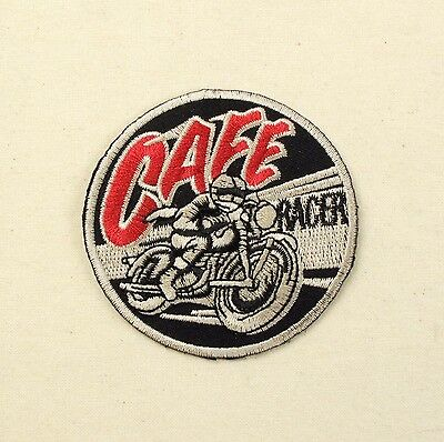 Cafe Racer Iron or sew on embroidered patch retro motorbike 60's rockers