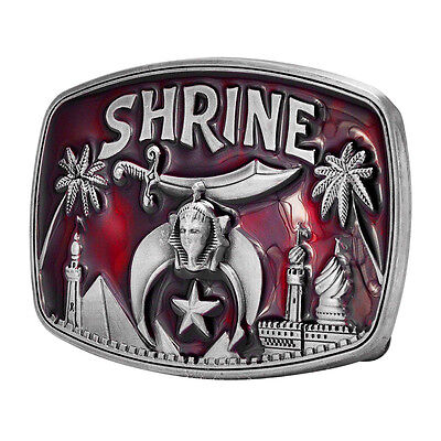 RED Shrine Masonic Belt Buckle Painted Black Metal Cool Shriners Unique New