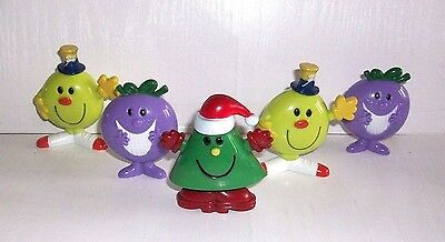 5 MR MEN AND LITTLE MISS FIGURES - TOYS / CAKE TOPPERS  7cm TALL VGC