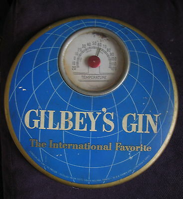 "Gilbey's Gin Advertising Wall Thermometer Vintage 9"" Round Metal Cooper USA"