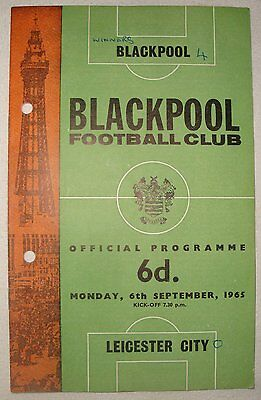 Football Programme: Blackpool v Leicester City, Division 1, 6th September 1965