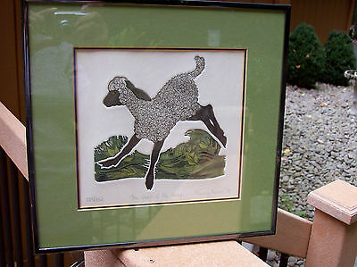 Exquisite Framed Nancy Nemec The Year of The Sheep Print? Sign & #'d 1979 Lamb