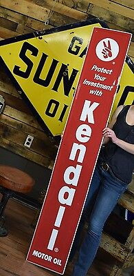 Embossed Tin Kendall Motor Oil Gas Station Garage Sign Auto Adv. 6 Foot Dealer