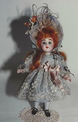 """7""""antique French All-Bisque Child Doll Lace Dress&wired Bonnet&underwear Pattern"""