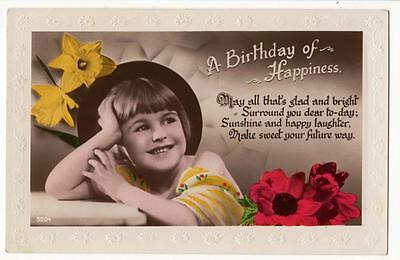 Vintage Deco Rp Postcard,little Girl,birthday, Flowers,deckled,1930