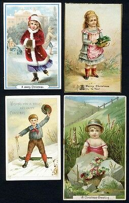 MERRY CHRISTMAS - 4 Victorian Cards with Children c 1880's  ICE SKATING Sledding
